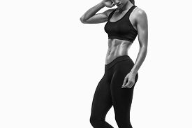foto of body shapes  - Fitness sporty woman showing her well trained body - JPG