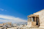 Six Caryatids or karyatides at Porch of the Erechtheion in Acropolis at Athens. poster
