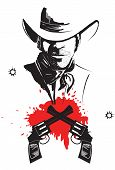 Cowboy In Hat With Blood Guns.vector Graphic Poster