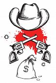 Cowboy Hat With Blood Guns.vector Graphic Western Criminal Poster
