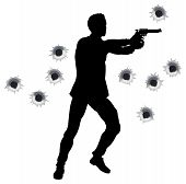 Action-Held In Gun Fight Silhouette