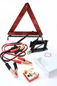 Emergency kit for car - first aid kit car jack jumper cables warning triangle light bulb kit