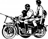 stock photo of sub-machine-gun  - black and white illustration of a motorcycle with a buddy seat - JPG