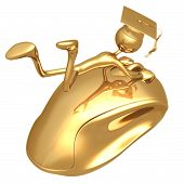 Golden Grad Holding On To A Computer Mouse Online Education Graduation Concept