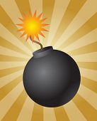Old fashioned round black bomb with lit fuse