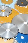 Collection of circular saw blades and abrasive disks