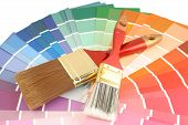 pic of paint brush  - rainbow paint swatches and paint brushes for home decorating - JPG