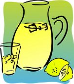 Lemonade and lemons, retro hand-drawn style. Lemon and lemon slices, pitcher and glass of lemonade
