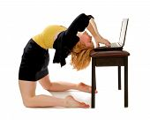 Business Woman Bending Over Backwards