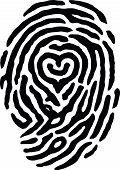 stock photo of dna fingerprinting  - A finger print has a heart in the middle of it - JPG