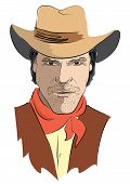 Vector Portrait Of Cowboy On White.strong Man In Cowboy Clothes