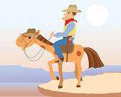 Cowboy Man Sit On Hes Horse.vector Cartoons