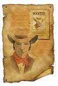 Cowboy And Gun. Graphic Image