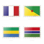 Постер, плакат: Postage Stamp With The Image Of France French Guiana Gabon Gambia Flag