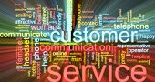 Word cloud concept illustration of customer service glowing light effect