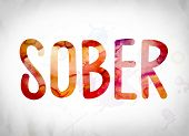 Sober Concept Watercolor Word Art poster