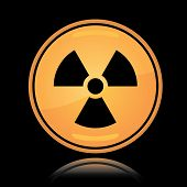Yellow round icon radiation sign
