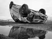 Car Turned Upside-down, Black And White