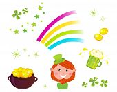 Irish And St. Patrick's Day Symbols And Icons Set.