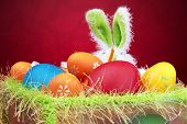 foto of easter basket eggs  - Easter eggs in a basket with Bunny - JPG