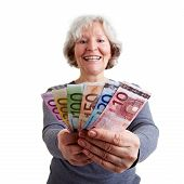Happy Elderly Woman With Money