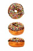 Donut with Chocolate Icing and Sprinkles in Three Different Views