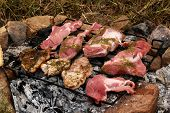 Pork chops roasting on wood coal fireplace