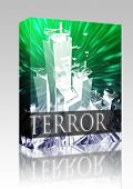 Caixa de pacote de software terror terrorista ataque ilustração conceito bombardeio de terrorismo da Al Queda