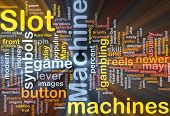 Background concept wordcloud illustration of slot machine gambling glowing light