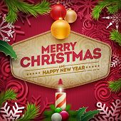 Vector Christmas and new year wishes on card. Christmas related ornaments objects on color backgroun poster