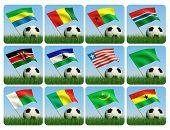 Fußball im Gras. Afrikanische Fahnen. 3D