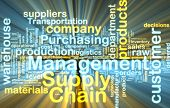 Word cloud tags concept illustration of supply chain management glowing light effect
