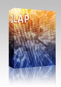 Software package box OLAP Business intellegence abstract, computer technology concept illustration