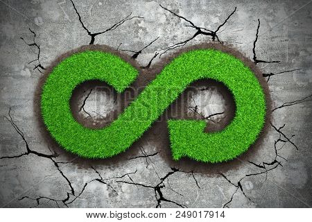 Eco And Circular Economy Concept The Green Grass In Form Of Arrow Infinity Recycling Symbol On Dry Poster