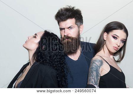 poster of Salon Concept. Bearded Man Hug Beautiful Women, Beauty Salon. Beauty Salon. Hair And Barber Salon. L