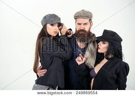 poster of Salon Concept. Bearded Man Hug Women With Barber Tools, Salon. Shaving Or Barber Salon. Salon For Re