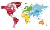 Political World Map Vector Illustration With Different Colors For Each Continent And Different Tones poster