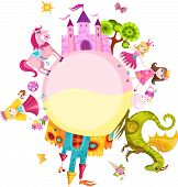 picture of woman dragon  - vector illustration of a cute princess set - JPG