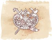 Vintage emblem - metope - hand draw sketch & watercolor background