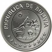 Vecor dinheiro boliviano moeda de prata Centavo 50