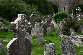 Ancient Celtic gravesite with unmarked gravestones in Ireland