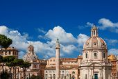 Twin Churches And Trajans Column Rome poster
