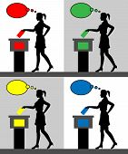 Young Woman Voter Silhouettes With Different Colored Thought Bubble By Voting For Election. All The  poster