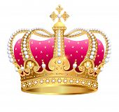 Illustration Gold En Royal Crown Insulated On White Background poster