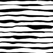 Modern Striped Seamless Pattern With Handdrawn Strokes. Hand Painted Grungy Ink Lines In Black And W poster