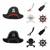 Pirate, Bandit, Cap, Hook .pirates Set Collection Icons In Cartoon, Black Style Vector Symbol Stock  poster