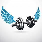 Dumb-bell With Disc Weight Vector Illustration Created Using Wings. Gym Power Lifting Sport Equipmen poster
