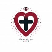 God Christian Love Conceptual Logo Design Combined With Christian Cross And Heart, Vector Creative S poster