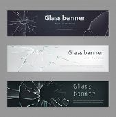 Set Of Illustrations Of Broken Glass Banners , Broken, Cracked Glass In Realistic Style. Background, poster