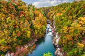 Tallulah Falls, Georgia, USA overlooking Tallulah Gorge in the autumn season. poster